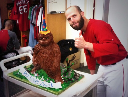 Pedroia Celebrates With Bigfoot