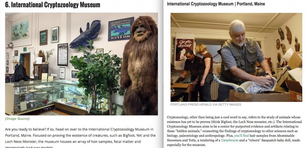 "International Cryptozoology Museum Featured On 2015 ""Best Of"" Lists"